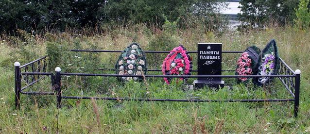 д. Заручье Сланцевского р-на. Памятник, установленный на братской могиле, в которой похоронено 9 советских воинов.