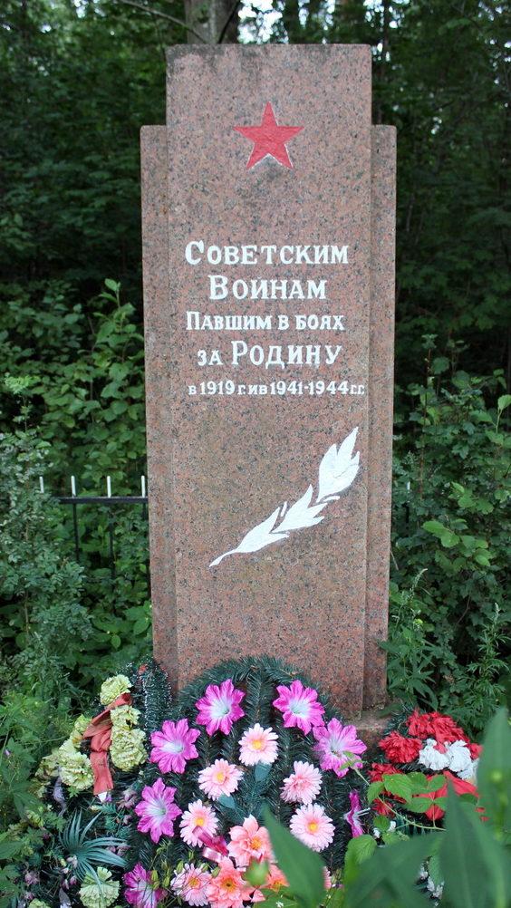 д. Ложголово Сланцевского р-на. Памятник, установленный на братской могиле, в которой похоронено 12 неизвестных советских воинов.