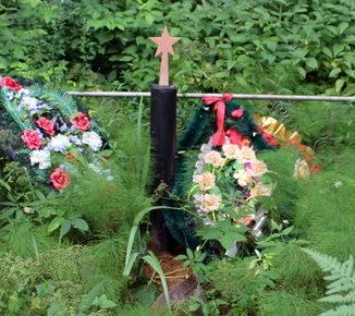 д. Лосева Гора Сланцевского р-на. Памятник, установленный на братской могиле, в которой похоронено 3 советских воина.