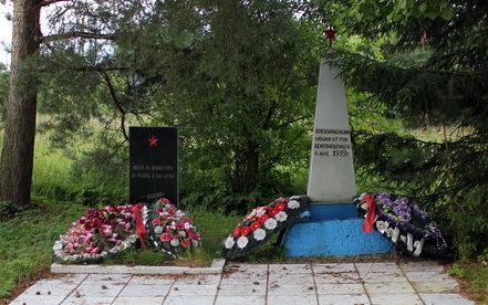 д. Монастырек Сланцевского р-на. Памятник, установленный на братской могиле, в которой похоронено 8 неизвестных советских воинов.
