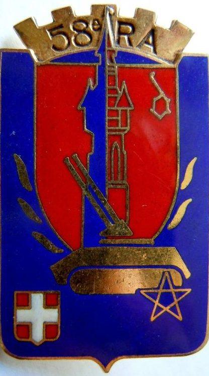 Знак 58-го артиллерийского полка.