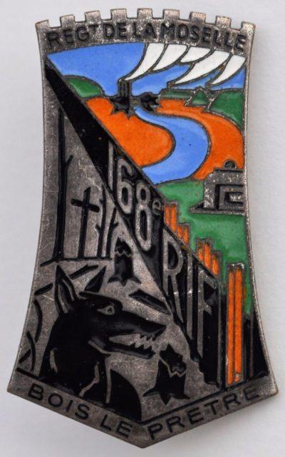 Аверс и реверс знака 168-го пехотного полка крепости.