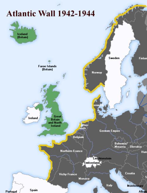 Схема Атлантической стены (показана желтым цветом).