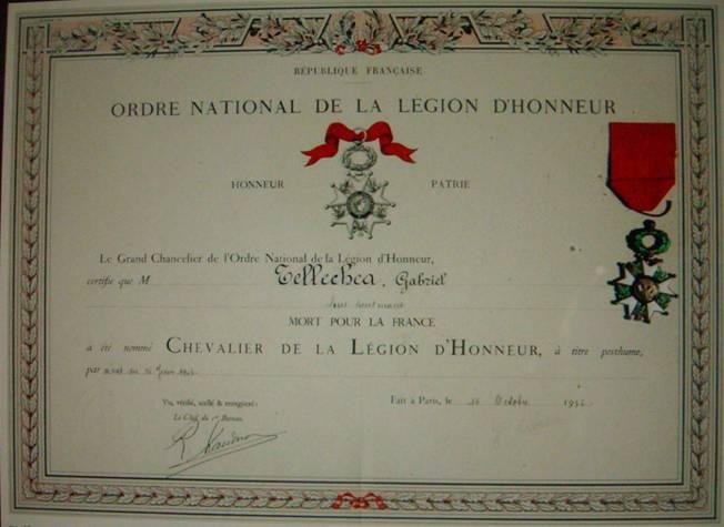 Диплом о награждении Орденом Почётного легиона.