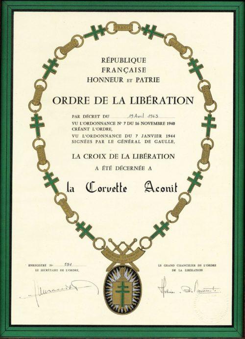Диплом о награждении Орденом Освобождения с цепью.
