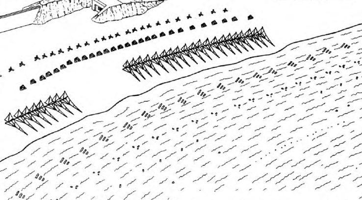 Рисунок немецких береговых заграждений во время прилива.