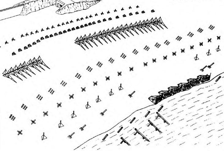Рисунок немецких береговых заграждений при отливе.