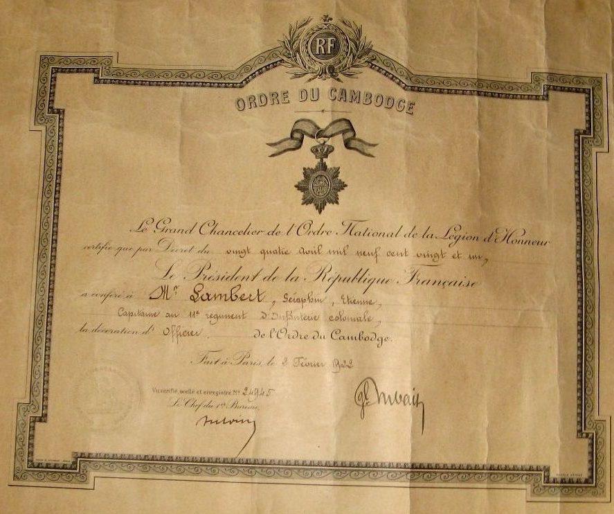 Свидетельство о награждении орденом Камбоджи.