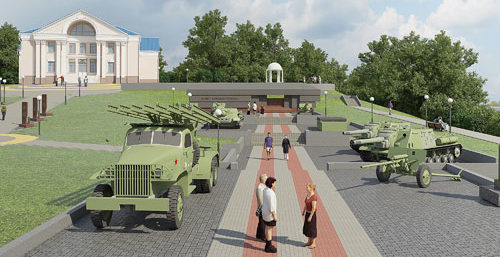 Военная техника и вооружение на мемориале.