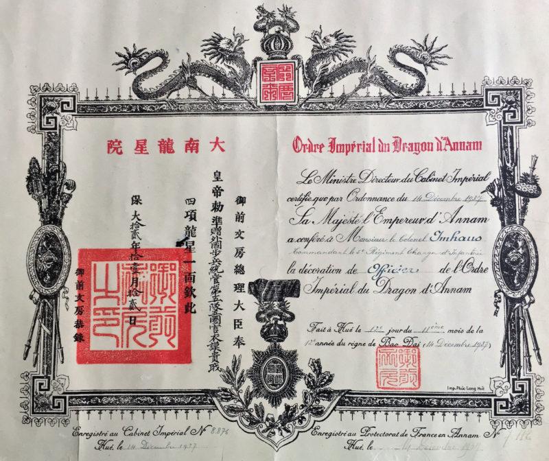 Свидетельства о награждении орденом Дракона Аннамы.