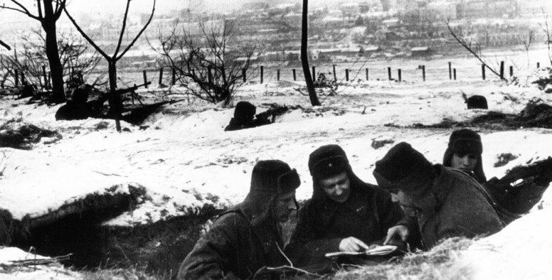 Позиции советской пехоты на окраине Ростова-на-Дону. Ноябрь 1941 г.