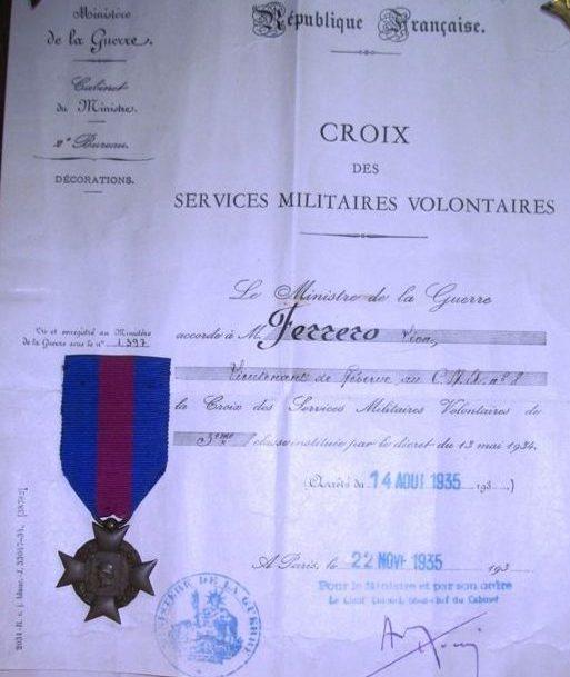 Свидетельство о награждении крестом «За Добровольную Воинскую Службу».