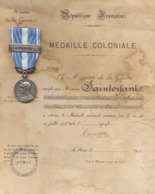 Свидетельство о награждении Колониальной медалью.