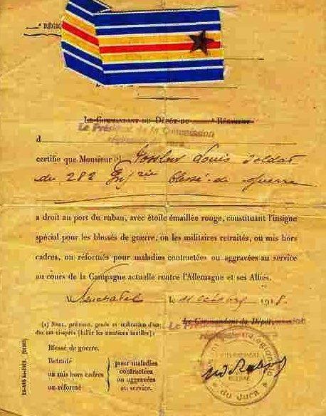 Свидетельство о награждении медалью за ранение на войне.