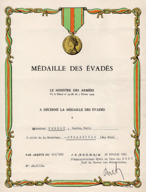 Свидетельство о награждении медалью «За побег из плена».