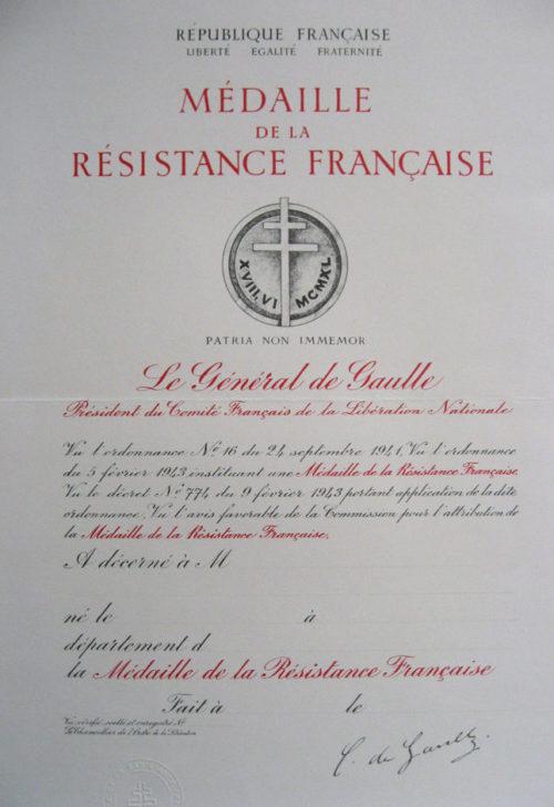 Свидетельства о награждении медалью Сопротивления.