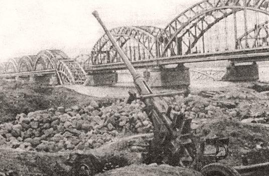 Разбитое зенитное орудие защитников города. Июль 1941 г.