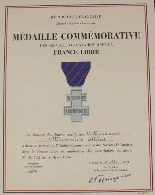 Свидетельство о награждении памятной медалью добровольной службы в рядах Свободной Франции.