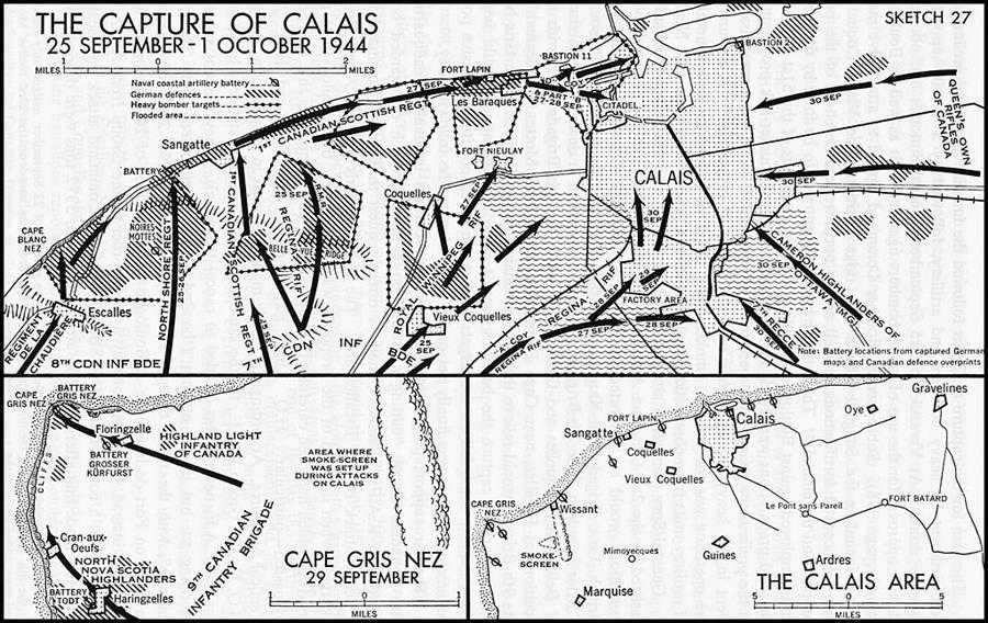 План-схема захвата Кале 25 сентября - 1 октября 1944 года.
