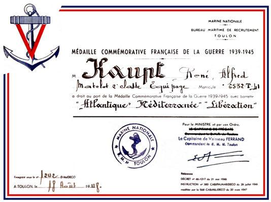 Свидетельства о награждении памятной медалью войны 1939-1945.