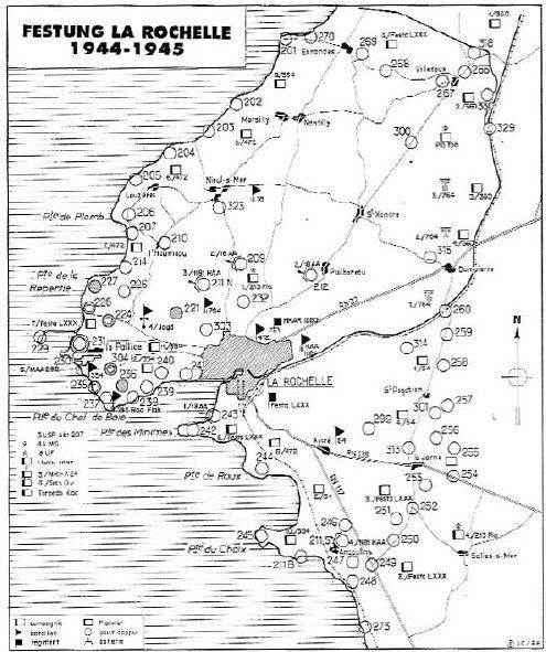 Схема размещения опорных оборонительных пунктов крепости Ла-Рошель.