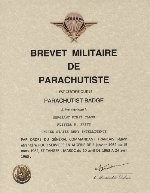 Свидетельство о вручении знака инструктора парашютиста иностранного легиона.