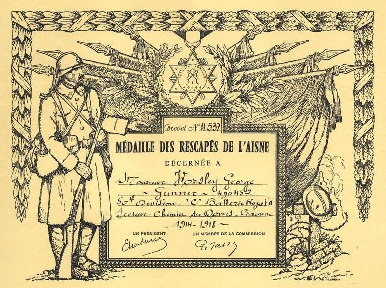 Свидетельство о награждении медалью выживших Эна.