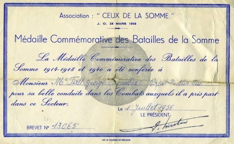 Свидетельство о награждении медалью битвы на Сомме.