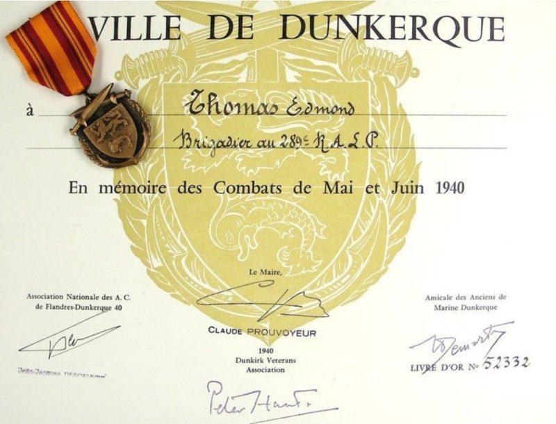 Свидетельство о награждении медалью Дюнкерк.