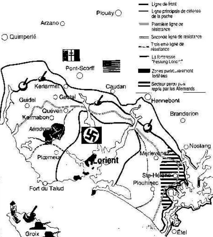 План-схема обороны крепости Лорьян.