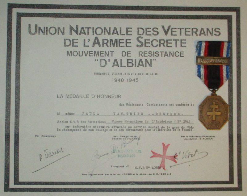 Свидетельство о награждении медалью движение сопротивления d'Albian.