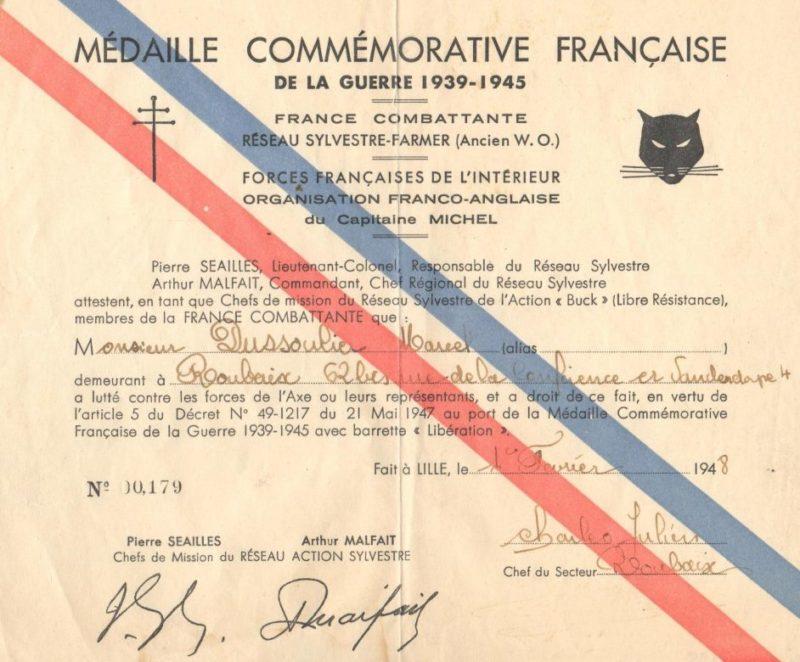 Свидетельство о награждении медалью сети сопротивления Sylvestre-Farmer.