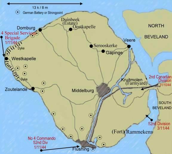 План крепости «Вальхерен» с размещением артиллерийских батарей.