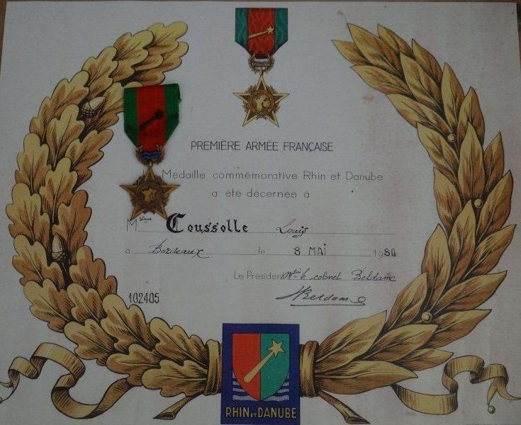 Свидетельство о награждении медалью компании на Рейне и Дунае.