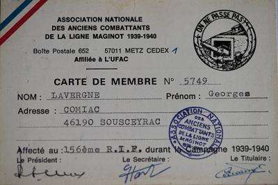 Свидетельство о награждении медалью Линия Мажино.