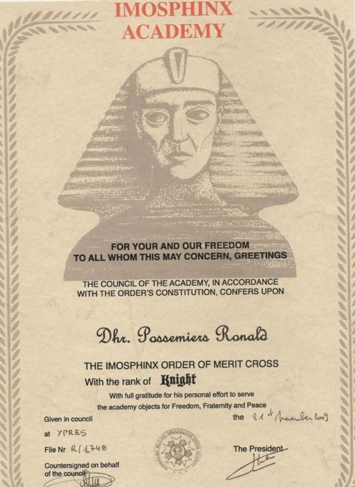 Свидетельство о награждении степенью Рыцаря ордена заслуг Международной Военной Организацией Сфинкс (IMOS).