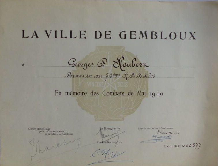 Свидетельство о награждении медалью в память битвы при Жамблу.