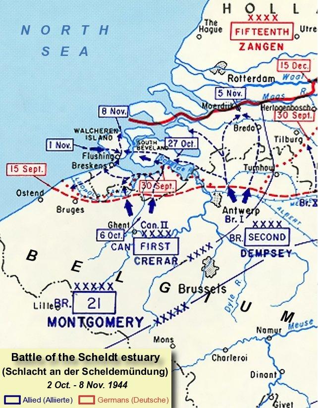 Карта битвы у Шельда.