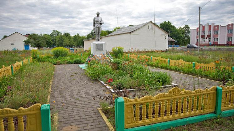 д. Осовец Мозырского р-на. Памятник, установленный на братской могиле, в которой похоронено 119 советских воинов.