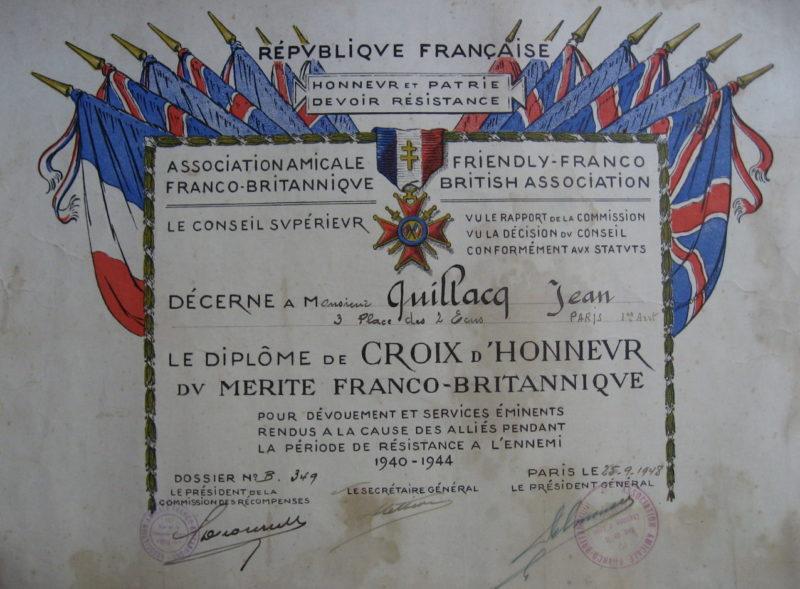 Свидетельство о награждении знаком Кавалера Почетного креста Ассоциации Франко-Британской Дружбы.