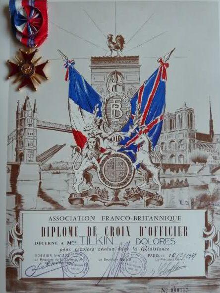 Свидетельство о награждении знаком Офицера Почетного креста Ассоциации Франко-Британской Дружбы.