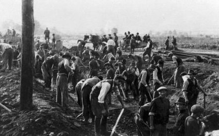 Жители копают противотанковый ров. Август 1944 г.