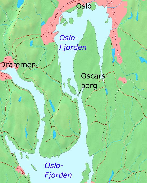 Карта Осло-фьорда с крепостью Оскарсборг.