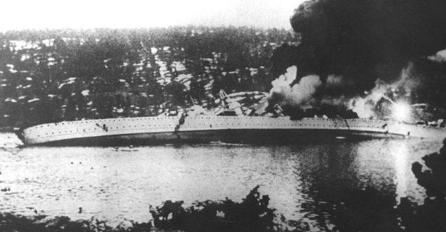 Немецкий крейсер «Блюхер» уходит на дно.