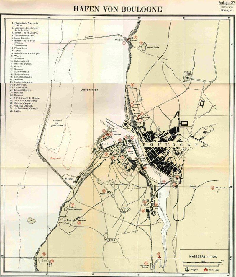 План размещения батарей в Булони на 1940 год, который особо не изменился к 1944 году.