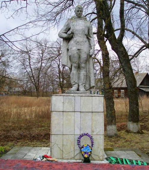 д. Снядин Петриковского р-на. Памятник в парке, установленный на братской могиле, в которой похоронены советские воины и партизаны.