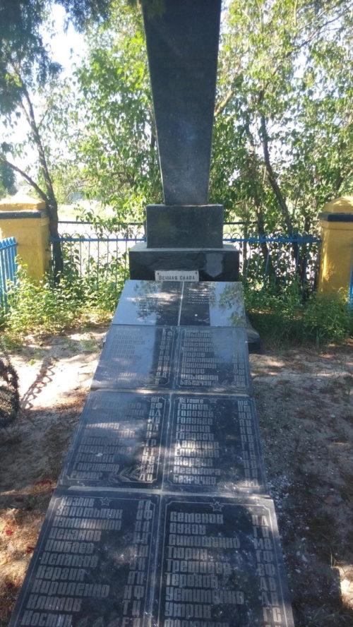 п. Бабичи Речицкого р-на. Памятник, установленный на братской могиле, где похоронено 57 советских воинов.