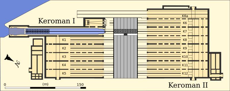 План-схема бункеров «Keroman I» и «Keroman II» и двора между ними.