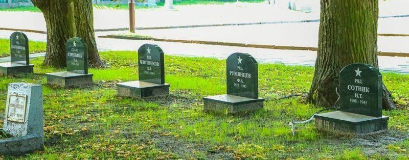 Братские и индивидуальные могилы.