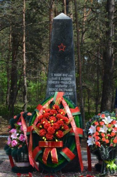 д. Дубовец Гомельского р-на. Памятник воинам, погибшим в августе 1942 года.